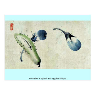 Cucumber or squash and eggplant Ukiyoe Postcard