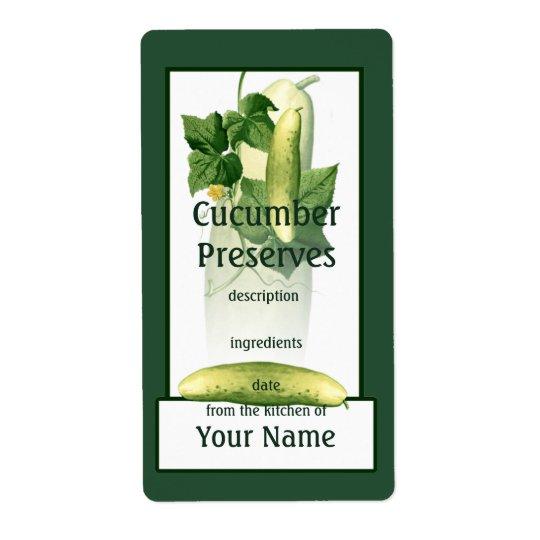 Cucumber Preserves Label