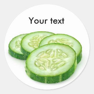 Cucumber slices round sticker
