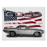 Cuda Muscle Car Poster