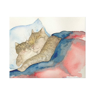 Cuddling Mother and baby kitten Art Canvas Print