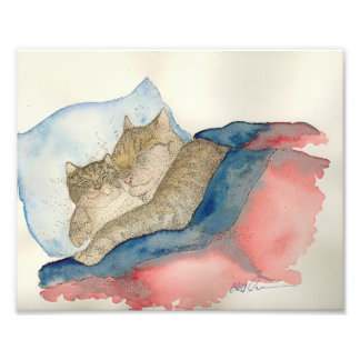 Cuddling Mother and baby kitten Art Print Art Photo