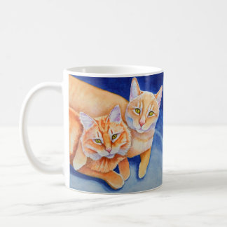 Cuddling Orange Tabby Cats Basic White Mug