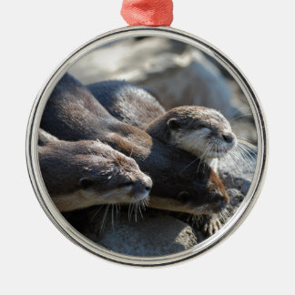 Cuddling Otters Christmas Ornament
