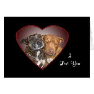 Cuddling Staffy Heart Greeting Card