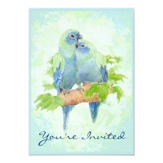 Cuddling Tropical Parrot Wedding Anniversary 13 Cm X 18 Cm Invitation Card