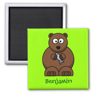 Cuddly bear square magnet