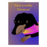 Cuddly Dachshund Christmas Card