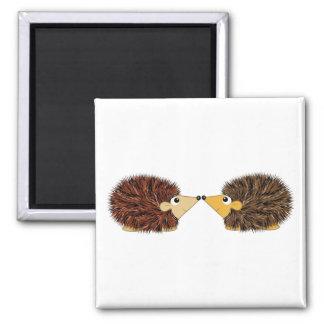 Cuddly Hedgehog Couple Square Magnet