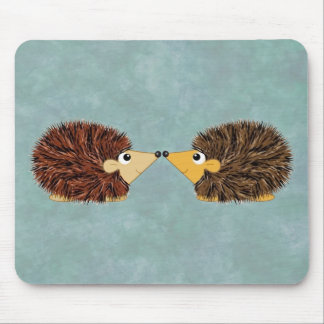 Cuddly Hedgehog Couple Mouse Pad