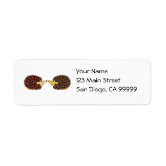 Cuddly Hedgehog Couple Return Address Label