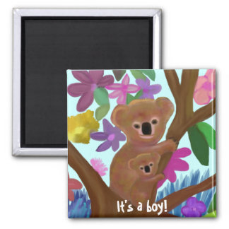 Cuddly Koala boy birth announcement Magnet