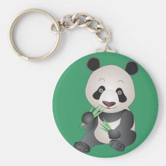 Cuddly Panda Basic Round Button Key Ring
