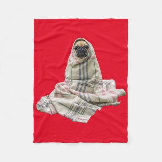 Cuddly Pug in a Blanket Custom Background Color