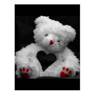 Cuddly White Heart Teddy Bear Design Postcard