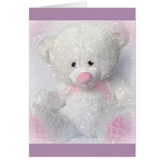 Cuddly White Teddy Bear Card