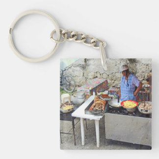 Cuenca-Sidewalk Cafe-Grilled Pork Double-Sided Square Acrylic Key Ring