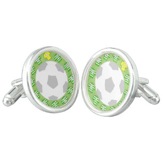 Cuff-links with Green & White Hooped Shirts Cufflinks