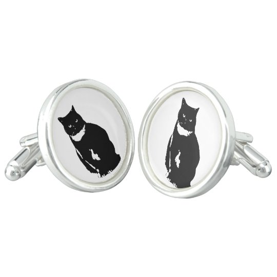 Cufflink - stylised tuxedo black cat with attitude