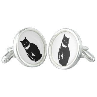 Cufflink - stylized tuxedo black cat with attitude