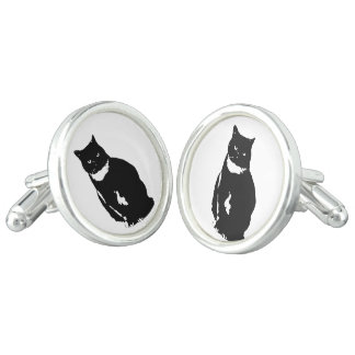Cufflink - stylized tuxedo black cat with attitude cufflinks
