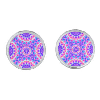 Cufflinks Mandala Psychedelic Visions Silver Finish Cuff Links
