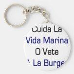 Cuida La Vida Marina O Vete A La Burger Key Chains