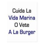 Cuida La Vida Marina O Vete A La Burger Postcards