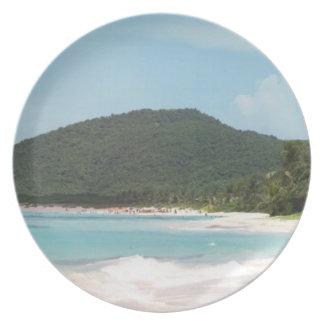 Culebra's Flamenco Beach Puerto Rico Dinner Plate