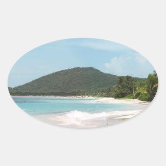 Culebra's Flamenco Beach Puerto Rico Oval Stickers