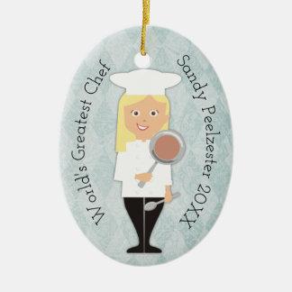 Culinary grad blonde girl chef Christmas ornament