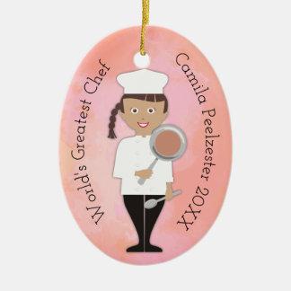 Culinary Hispanic girl chef Christmas ornament