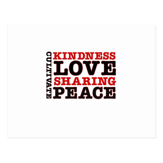 Cultivate Kindness Love Sharing Peace Postcard