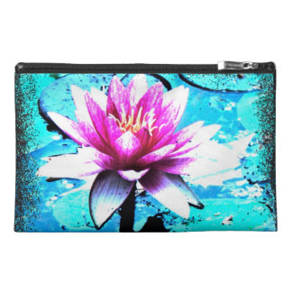 Cultural bag abstract bloom turquoise pink travel accessory bags
