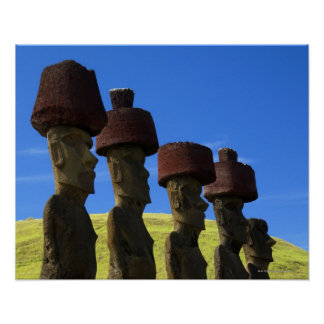 Cultural statues, Easter Island, Polynesia Poster