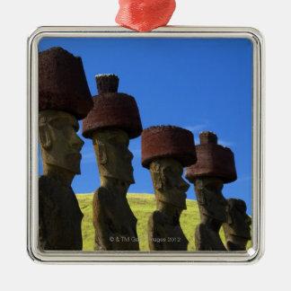 Cultural statues, Easter Island, Polynesia Silver-Colored Square Decoration