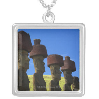 Cultural statues, Easter Island, Polynesia Silver Plated Necklace