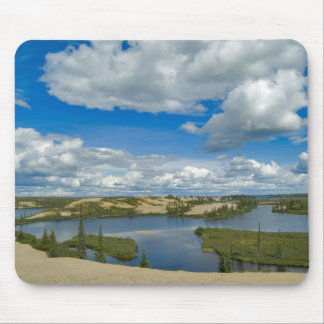Cumulus clouds float above lakes, Northwest Mouse Pad