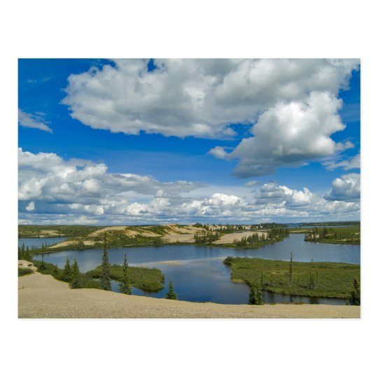 Cumulus clouds float above lakes, Northwest Postcard
