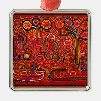 Cuna Indian Men in Cayucos Silver-Colored Square Decoration