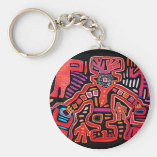 Cuna Indian Tribal Shaman With Fans Basic Round Button Key Ring