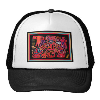 Cuna Indian Tribal Shaman With Fans Cap