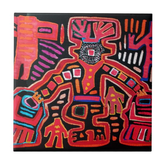 Cuna Indian Tribal Shaman With Fans Tile
