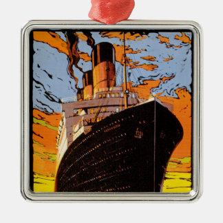 Cunard Europe-America Silver-Colored Square Decoration