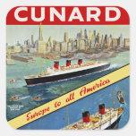 Cunard Europe to all America Square Sticker