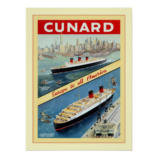 Cunard ~ Europe To All America ~ Vintage