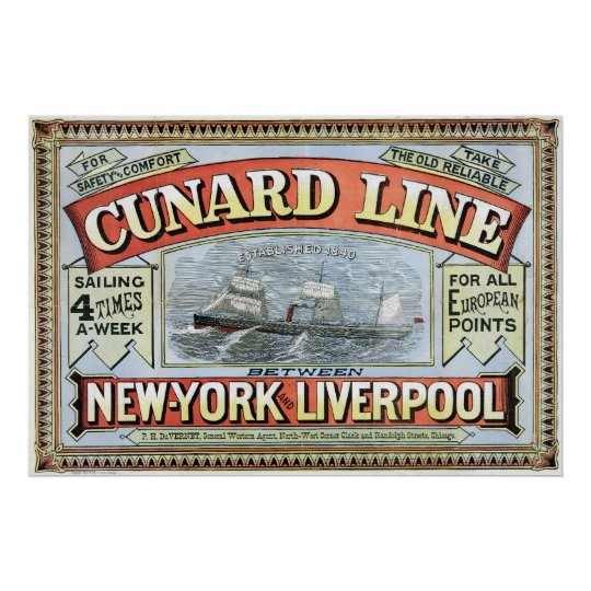 Cunard Line Ad Poster New York and Liverpool 1875