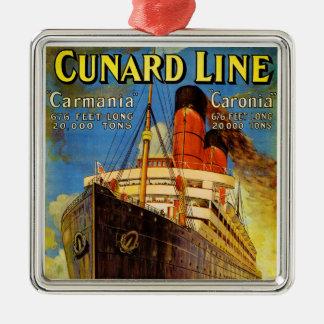 Cunard Line ~ Carmania and Caronia Silver-Colored Square Decoration