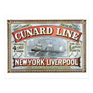 Cunard Line New York Liverpool 1875 Postcard