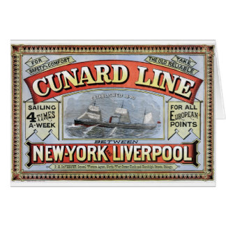 Cunard Line New York Liverpool Poster Card